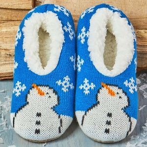Shoes - Blue snowman Sherpa-Lined Holiday Slippers